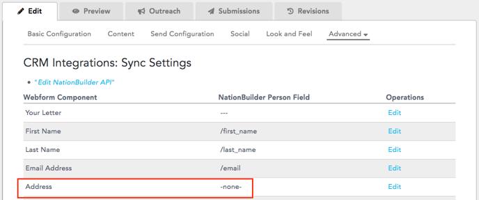 Address not mapped to field in NB