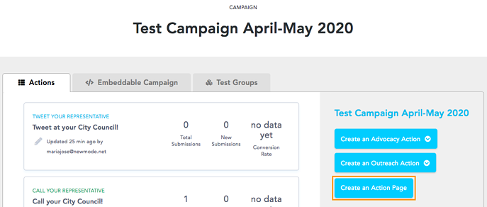 Create an action page for your campaign
