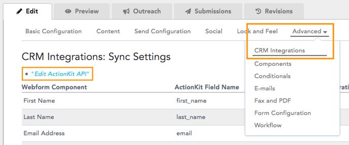 Edit ActionKit API