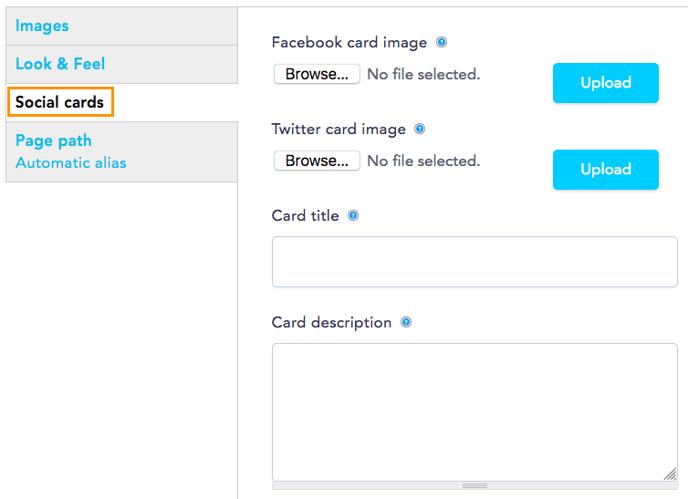 Social cards tab
