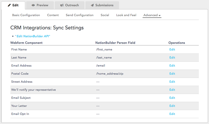 Sync Settings - NationBuilder