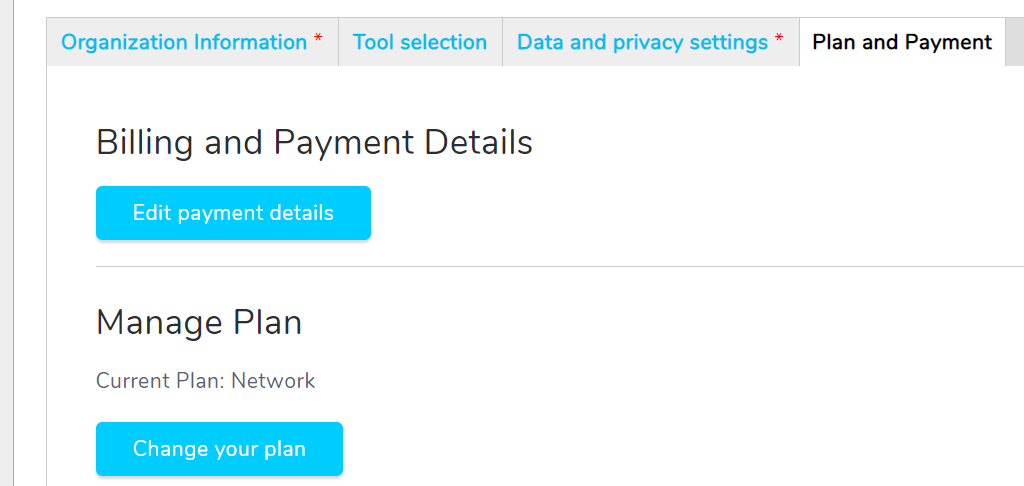 Plan and Payment tab